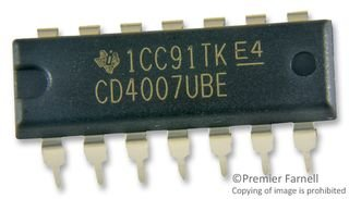 Texas Instruments CD4007 CD4007UBE IC, Dual Inverter DIP-14 (Pack of 10) by Texas Instruments