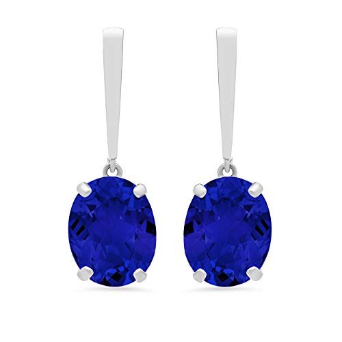 14k White Gold Solitaire Oval-Cut Created Blue Sapphire Drop Earrings (10x8mm)