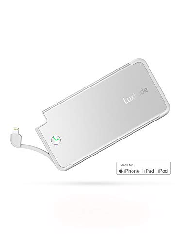 Luxtude PowerEasy 5000mAh Ultra Slim Power Bank for iPhone, Apple Certified Portable Charger with Built in Lightning Cable, Fast Charging External Battery Pack for iPhone Xs Max/Xs/XR/X/8/8P/7/7P/6/6S