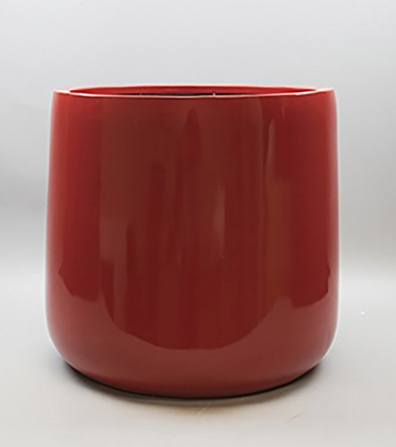 Shiny Red Round Bottom Fiberglass Planter Flower Pot 21''H x 21'' Diameter - by VaseSource by VaseSource