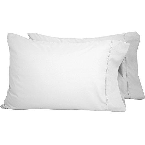 Premium 1800 Ultra-Soft Microfiber Collection Pillowcase Set (Standard Pillowcase Set of 2, White)