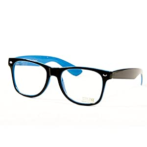 Goson Vintage Hipster Nerd Unisex Classic Retro 80' Clear Lens Blue Black two tone Frame/Clear Lens Wayfarer 57 mm Glasses
