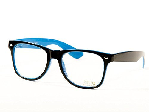 Goson Vintage Hipster Nerd Unisex Classic Retro 80' Clear Lens Blue Black two tone Frame/Clear Lens Wayfarer 57 mm - Glasses Blue Hipster