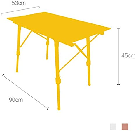 Mojawo Folding Camping Table Garden Table Camping Side Table Travel Table Wood Metal White 45 x 45 x 50 cm