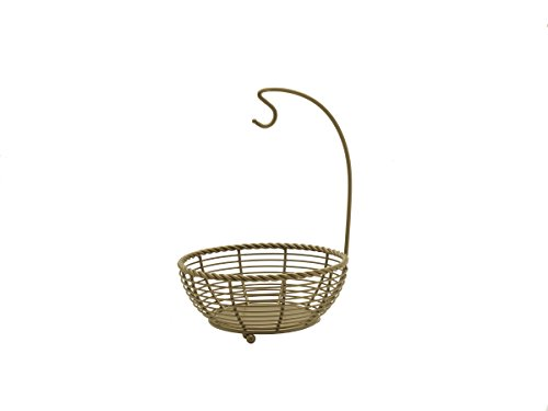 Gourmet Basics by Mikasa 5216561 Rope Metal Fruit Storage Basket with Banana Hook, Antique Gold