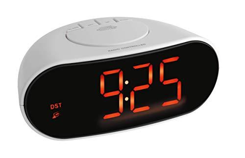 TFA Reloj Despertador Digital LED, Blanco
