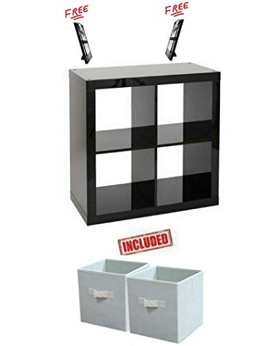 Better Homes and Gardens Bookshelf Square Storage Cabinet 4-Cube Organizer in High Gloss Black Lacquer Finish with (Black Lacquer Storage)