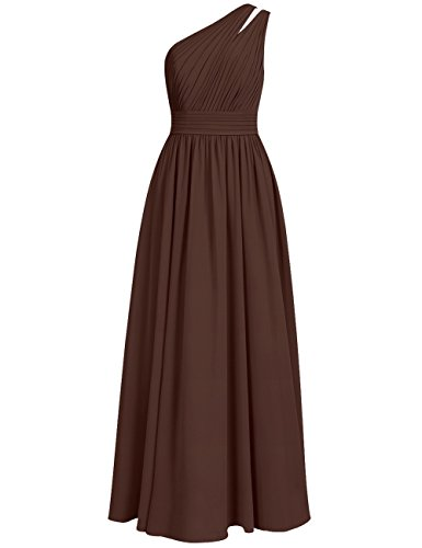 Shoulder Maxi Long Bridesmaid Cdress Evening Gowns Prom Dresses One Wedding Chiffon Chocolate 1Uwa5R
