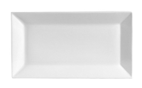 "White 12"" x 6"" Rectangular Porcelain Platter - Party Food Server Display Plate - Cake Dessert Fruit Presentation Tray"