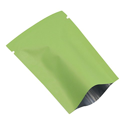 8x12cm (3.1''x4.7'') Green White Open Top Matte Aluminum Foil Vacuum Seal Packaging Bag Food Storage Packing Heat Seal Mylar Foil Packing Pouches (1600, Green) by BAT Pack