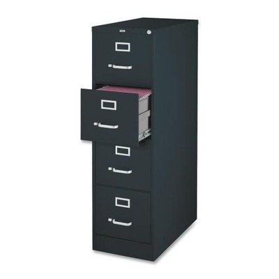 Lorell 4-Drawer Vertical File, 18 by 26-1/2 by 52-Inch, Black by Lorell
