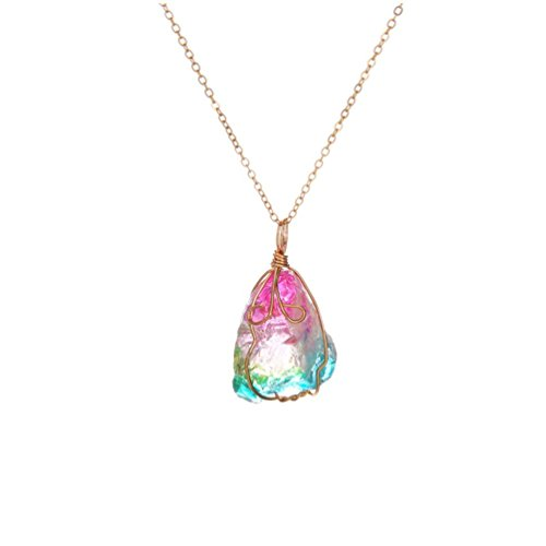 - Celendi_ Jewelry Women's Crystal Pendant Transparent Multicolored Chain Necklace Ornaments