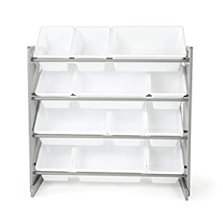 Tot Tutors Kids' Toy Storage Organizer with 12 Plastic Bins, Grey/White (Inspire Collection) (B079TXDDRW) | Amazon Products