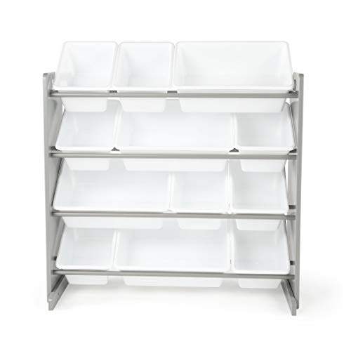 Tot Tutors Kids' Toy Storage Organizer with 12 Plastic Bins, Grey/White (Inspire Collection)]()