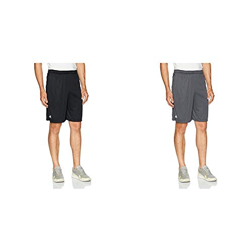 Russell Athletic Men's Dri-Power Performance Short with Pockets, Black & Stealth, M