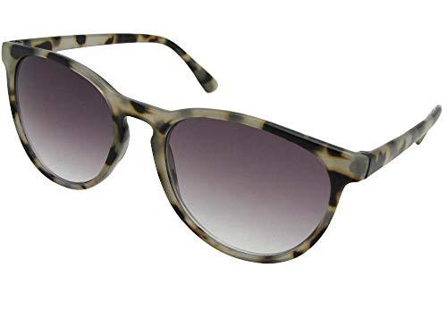 (Retro Vintage Semi Round Progressive Multi Focus Lens Reading Sunglasses (Clear Tortoise-Gray Lenses, 3.00))
