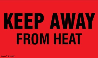 """Kenco 3"""" X 5"""" Keep Away from Heat Fluorescent Shipping Label Stickers for Shipping and Packing - 500 Labels Per Roll"""