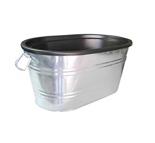 FixtureDisplays Insulated Beverage Ice Tub Galvanized Metal Bucket HDPE Interior Coke Pepsi Soda Beer Champane 12176 12176
