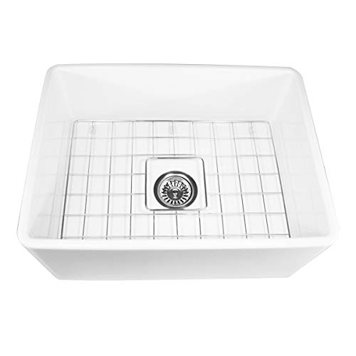 Nantucket Sinks T-FCFS-24 24-Inch Single Bowl Fireclay Farmhouse Kitchen Sink, White