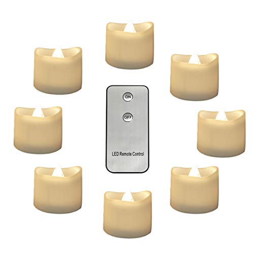 Warm White Tea Lights Battery Operated with Remote Control, 12pcs Electronic Unscented Candles Flickering Tea Lights for Halloween Christmas Home Décor, Table, Hanging Tree