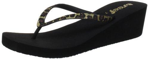 Reef Women's Krystal Star Luxe Sandal,Black/Leopard,10 M (Krystal Print)