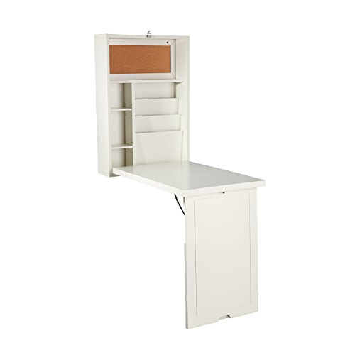 "Southern Enterprises Fold Out Convertible Desk 22"" Wide - Wall Hanging Space Saving - Antique White Finish"