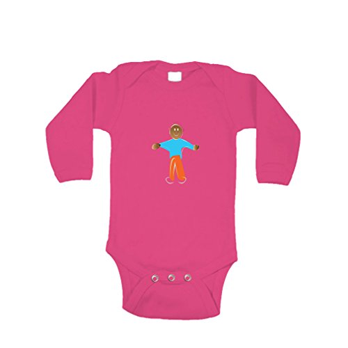 Price comparison product image African American Greeting Long Sleeve Baby Bodysuit One Piece Hot Pink Newborn