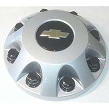 "16 17 Inch OEM Chevy HD 8 Lug Factory OEM Original Silver Painted FRONT Center Cap Hubcap Wheel Cover, 2011 2012 2013 # 9597797 9597796 8076 8094 Silverado 2500 3500 Pickup Truck Van DRW Dually 8.875"""