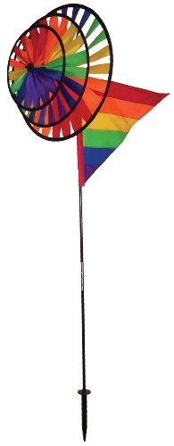 In the Breeze Triple Wheel Rainbow Garden Spinner with Wind Sail -