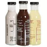 BBQ Sauce Jar, Marinade Jar & Dressing Jar with 4 Recipes Printed on Each Jar - Made of Flameproof Borosilicate Glass - 14 oz Capacity Each Jar