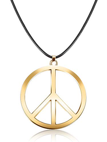 Tatuo 1 Piece Metal Peace Sign Pendant 1960s 1970s Hippie Party Accessories Necklace (Gold)