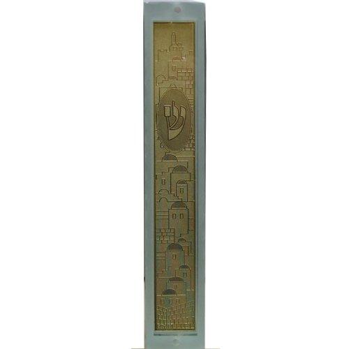 Decorative Glass Mezuzah Holder / Gold Jerusalem Design - 15cm by Art Judaica