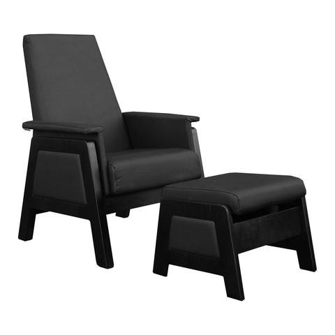 Dutailier Urban Glider Espresso Base With Black Leatherette Material & Matching Ottoman by Dutailier