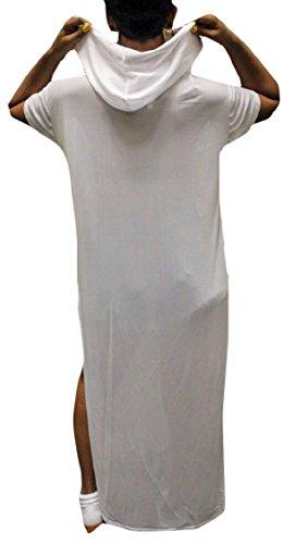 Sexy Vestito Della Attraverso Incappucciata Manica 2 Donne Corta Vedere Jaycargogo Maglia Maglietta Pura Maxi zwAHt7xWBq