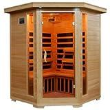 Santa Fe 3 Person Solid Hemlock Wood Corner Unit Infrared Sauna w/Carbon Heaters
