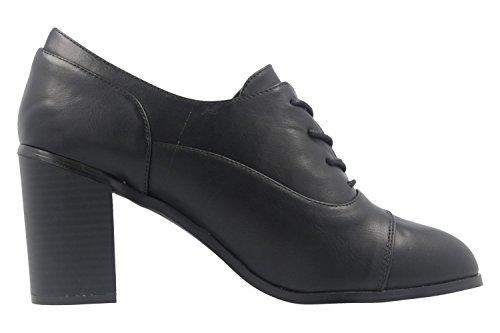 ANDRES MACHADO - Damen Schnür-Pumps - Schwarz Schuhe in Übergrößen