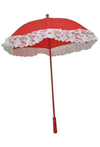 (Morris - Nylon Ruffle Red Parasol - Standard)