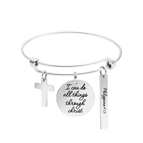 Christian Bracelet Expandable Wire Bangle Bible Verse Stainless Steel Jewellery Charm Inspirational Gifts (I can do All Things Through Chirst) (Wire For Bangles)