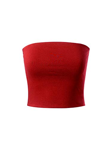(MixMatchy Women's Causal Strapless Cute Basic Solid Cotton Tube Top Red L)
