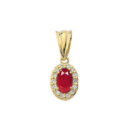 10k Yellow Gold Diamond Ruby - Tiny 10k Yellow Gold Diamond and Genuine Ruby Pendant