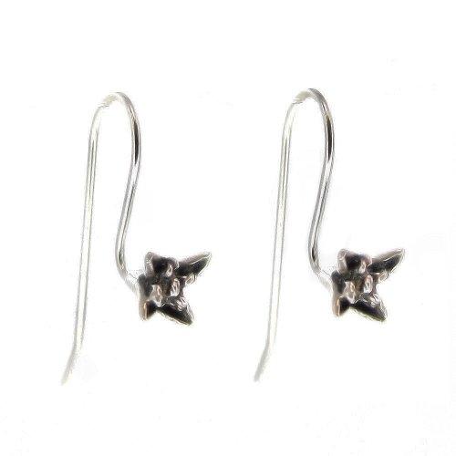 4 pcs Bali .925 Sterling Silver Ear Wire Earwires Flower French Hook / Earrings Connector / Findings / Antique ()