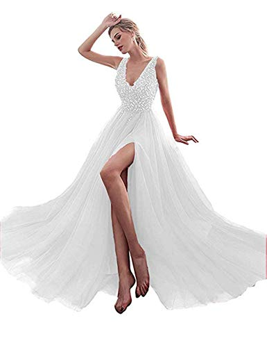(Girl's A Line Long Prom Dress Tulle Beaded Empire Waist Formal Evening Party Gown White,US10)