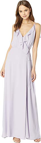 (WAYF Women's The Jamie Lace-Up Back Ruffle Cross Front Gown Lavender)