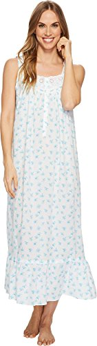 Eileen West Women's Cotton Lawn Sleeveless Ballet Nightgown White Ground/Floral Toss (Cotton Ruffled Nightgown)