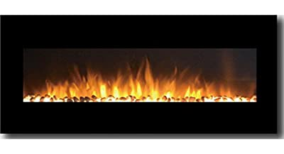 Gibson Living GL5050PF Milan 50 Inch Pebbles Electric Wall Mounted Fireplace Black