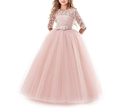 Princess Lace Dress Kids Flower Embroidery Dress for Girls Vintage Children Dresses, 6
