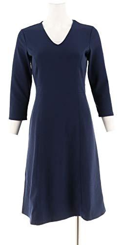 Liz Claiborne NY V-Neck Ponte Knit Dress A267259, Navy, 2 from Liz Claiborne New York