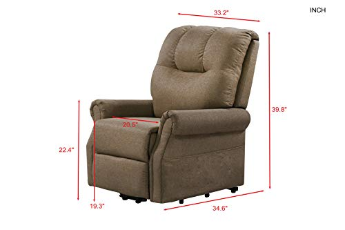 Merax Electric Recliner Chair Lazy Boy Sofa for Elderly, Power Lift Office or Living Room, Brown