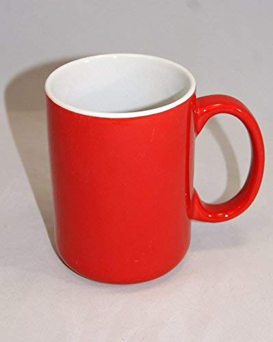 Café Ceramic Microwave Safe Large Handle Novelty Coffee & Tea Mug, Red (Pack of ()