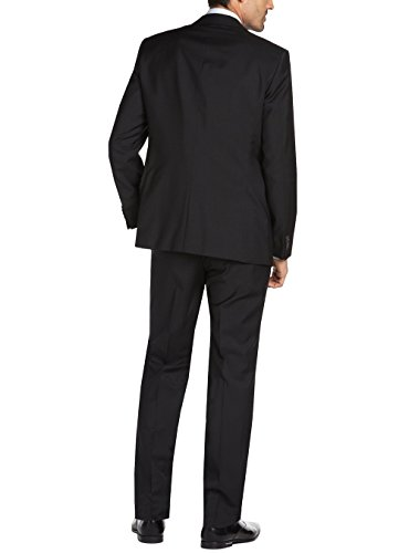 Gino Valentino Men's 2 Button Jacket Flat Front Pants Jet Black Suit